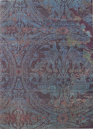 Byzantine silk - Byzantine silk with a pattern of birds and griffins in roundels.