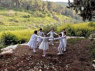 Mishmar HaEmek - Kibbutz children dancing on a hilltop,  2012