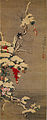 宋紫石 聯珠争光図 絹本着色 明和2年(1765)神戸市立博物館 Sō Shiseki Flowers and Birds in the Snow a hanging scroll Color on silk Middle Edo period dated 1765 Kobe City Museum.jpg