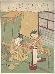A Young Woman and Man Playing Shōgi (Japanese Chess); Chūnagon Kanesuke