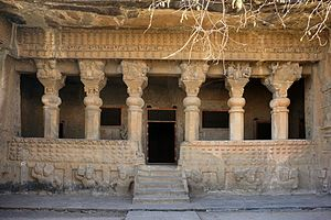 Satavahana dynasty - Satavahana architecture at Cave No.3 of the Pandavleni Caves in Nashik. This cave was probably started during the reign of Gautamiputra Satakarni, and was finished and dedicated to the Buddhist Samgha during the reign of his son Vasishthiputra Pulumavi, crica 150 CE.