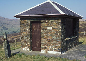 Keppel Gate, Isle of Man - TT Race Marshal's Shelter at Keppel Gate with an old stone gate-post