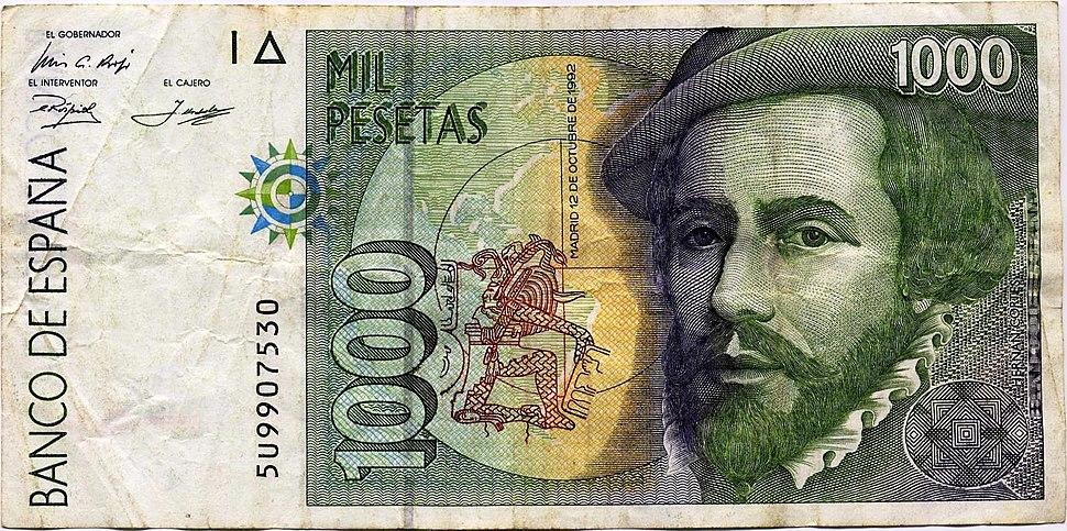 1000 pesetas, 12 de octubre de 1992, Hernán Cortés