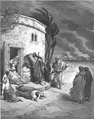"Natural evil - Gustave Doré: Doré's English Bible ""Job Hears of His Misfortunes"" (Job 1:1-22)"