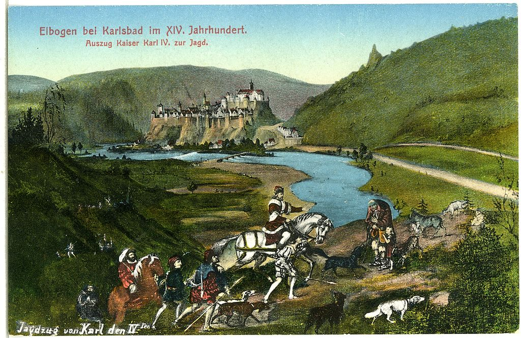 Le roi Charles IV à la chasse sur une carte postale d'ambiance champêtre.