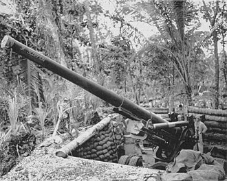 """Marine defense battalions - 155 mm Long Tom gun """"Scorpion"""" of the 4th Marine Defense Battalion at Barakoma Airfield on Vella Lavella in the South Pacific."""