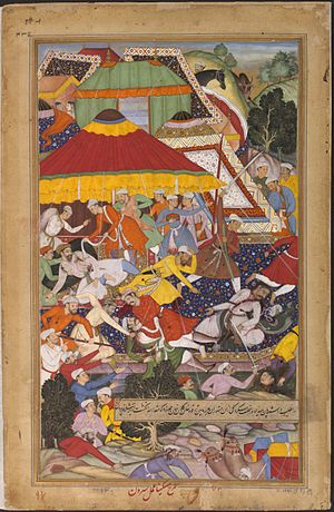 Sirohi State - Khan Kilan wounded by an envoy of the ruler of Sirohi, Man Singh Deohra, while passing through the Rajput territory of Sirohi