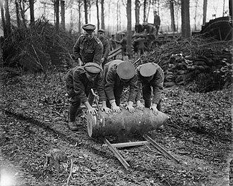 BL 15-inch howitzer - Image: 15inch Howitzer Shell Englebelmer Wood September 1916