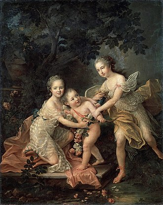Louis Philippe I, Duke of Orléans - Children of the Duke of Orléans (c.1755); Bathilde holds an angel with her brother, the Duke of Chartres, is on the far right, François-Hubert Drouais.