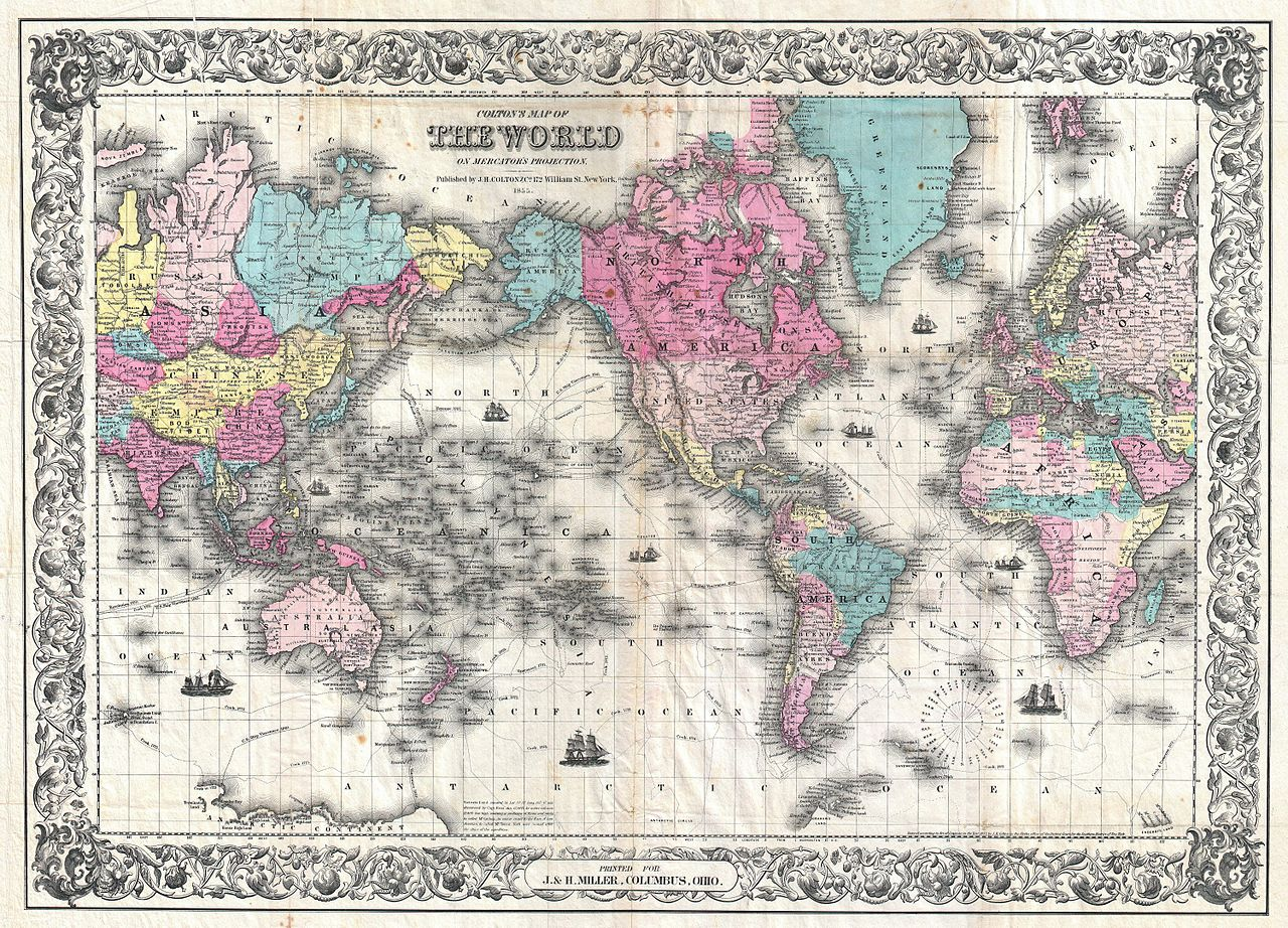 File1852 coltons map of the world on mercators projection file1852 coltons map of the world on mercators projection pocket map geographicus world colton 1852g gumiabroncs Gallery
