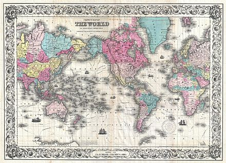 The world in 1852 1852 Colton's Map of the World on Mercator's Projection ( Pocket Map ) - Geographicus - World-colton-1852.jpg