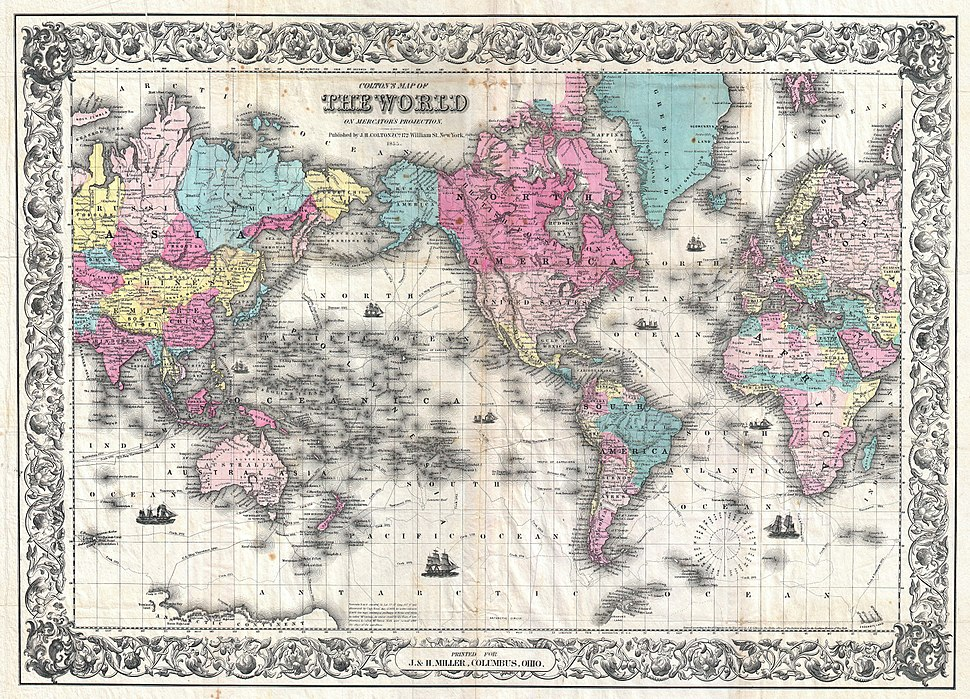 1852 Colton's Map of the World on Mercator's Projection ( Pocket Map ) - Geographicus - World-colton-1852
