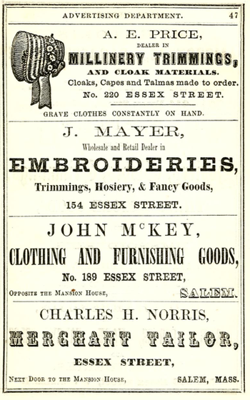Advertisements, Salem, Massachusetts