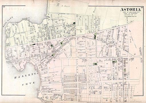 1873 Beers Map of Astoria, Queens, New York City - Geographicus - Astoria-beers-1873