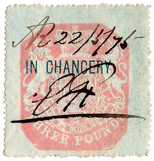 Stamp duty in the United Kingdom - An 1875 £3 chancery revenue stamp of the United Kingdom.