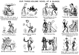 "Cliché - ""Our Three-Volume Novel at a Glance"", a cartoon by Priestman Atkinson, from the Punch Almanack for 1885 (which would have been published in late 1884), a jocular look at some clichéd expressions in the popular literature of the time"