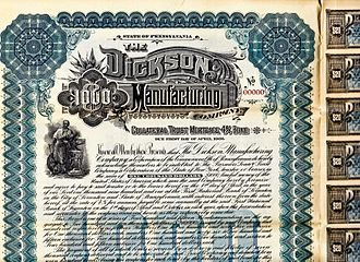 Dickson Manufacturing Company - 1896 Company Bond Certificate