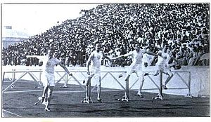 Hugo Friend - The 1906 Athens games 110 metres hurdles final; Friend at left