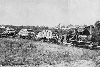 Marrawah Tramway - First tramload of cheese, butter and wool to Smithton on the Marrawah tramway
