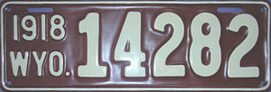 Vehicle registration plates of Wyoming - Image: 1918 Wyoming license plate