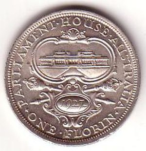 Florin (Australian coin) - Image: 1927 Australian florin reverse