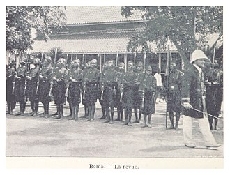 Congo Free State - 'La revue' of the Force Publique, Boma, capital city of the Congo Free State, 1899