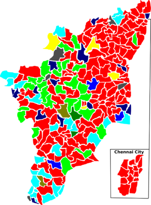 Tamil Nadu Legislative Assembly election, 1989 - Election map of results based on parties. Colours are based on the results table on the left