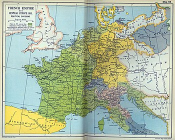 The French Empire in Europe in 1811, near its peak extent. Dark and light green areas indicate the French Empire and its territories; blue, pink and yellow areas indicate French client and satellite states