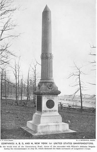 1st Battalion New York Volunteer Sharpshooters - The 1st NY Sharpshooter Battalion's monument at Gettysburg