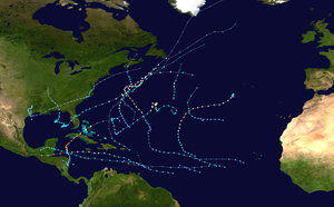 An overview of the paths of seventeen tropical cyclones that formed in the Atlantic during the 2001 season