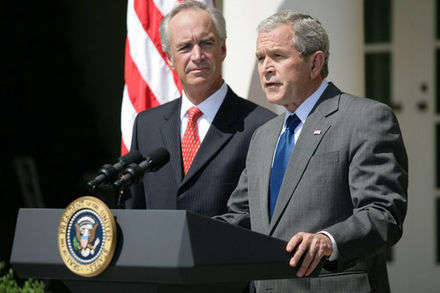President Bush delivering a statement on energy, urging Congress to end offshore oil drill ban, June 18, 2008 20080618 Bush Kempthorne oil exploration speech.jpg