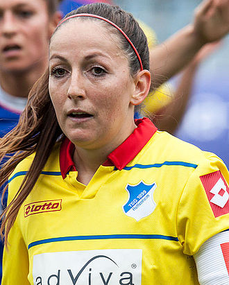 Martina Moser - Image: 2014 10 11 Fußball 1. Bundesliga FF USV Jena vs. TSG 1899 Hoffenheim Martina Moser IMG 4437 L Rc by Stepro