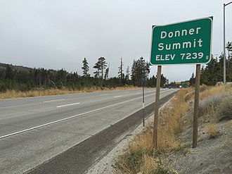 Donner Pass - Sign for Donner Summit on Interstate 80