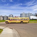 2018-05-14 Blue Bird school bus with GMC chassis, Spruce Grove, AB.jpg