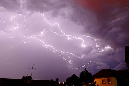 Lightnings, over Belfort (France).