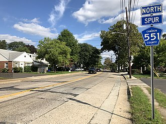 County Route 551 (New Jersey) - View north along CR 551 Spur at Route 168 in Mount Ephraim