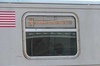 N (New York City Subway service) - N train showing termination at 86th Street