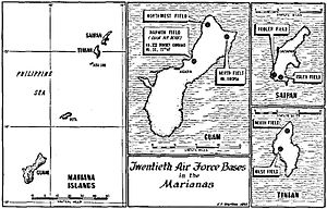 Japanese air attacks on the Mariana Islands - Locations of U.S. 20th Air Force bases in the Marianas Islands, on Guam, Saipan and Tinian, during World War II