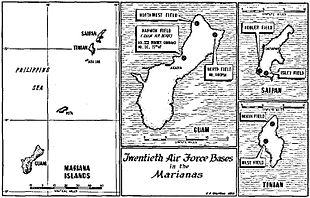 Black and white map of the Mariana Islands marked with the locations of airfields mentioned in the text of the article