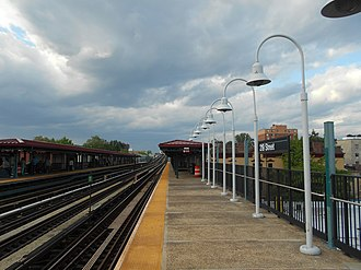 219th Street (IRT White Plains Road Line) - The 219th Street station facing northbound towards 225th Street.