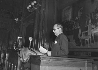 Halvard Lange - Halvard Lange speaks in Stortinget in 1949