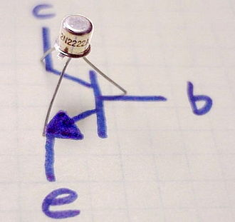 2N2222 - 2N2222A (TO-18 package) with the emitter, base and collector identified as E, B, and C respectively.
