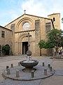 31 Sant Esteve de Parets del Vallès, façana oest, i font de la pl. de la Vila.JPG