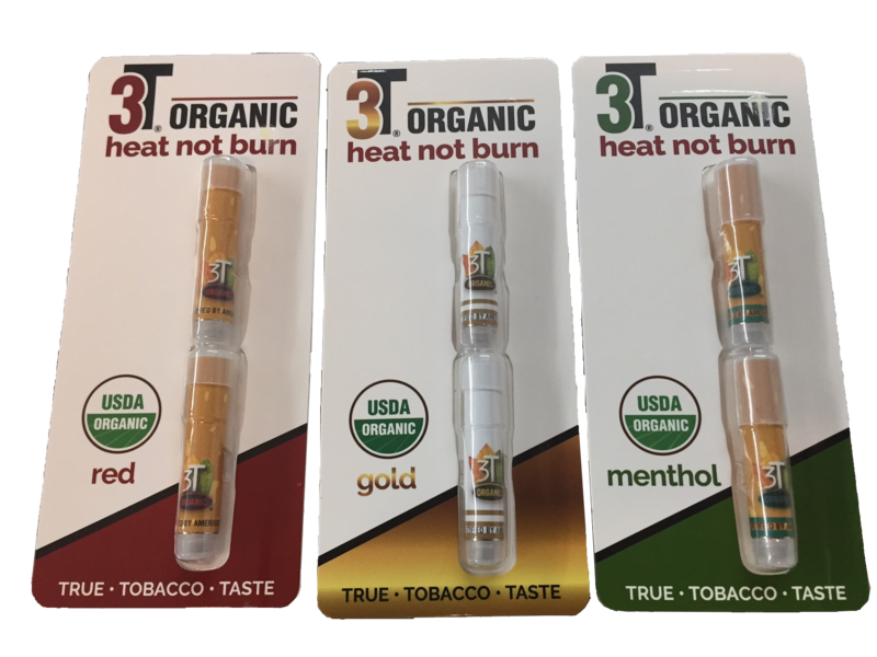 3T Organic red, gold and menthol bubble-packs containing stick-like products.