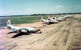 North American B-45 Tornado - Flightline photo of B-45A-5-NA Tornadoes of the 47th Light Bomb Wing, Langley Air Force Base, Va., before transatlantic flight to Sculthorpe, England, in July 1952.