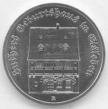 5 Mark DDR 1983 - 500. Geburtstag von Martin Luther - Geburtshaus in Eisleben - Bildseite