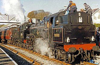 BR Standard Class 4 2-6-4T - No 80079 and No 80080 at Tenby in October 1993 on a main line special from Swansea to Pembroke Dock and return.