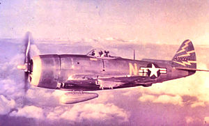 81st Fighter-Bomber Group - 81st FG F-47N 44-8800 over Hawaii about 1949