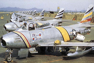 8th Fighter Wing - North American F-86F-30-NA Sabres of the 8th Fighter-Bomber Group, Korea, 1953. Serial 52-4877 in front in Wing Commander's colors, 52-4473 alongside.