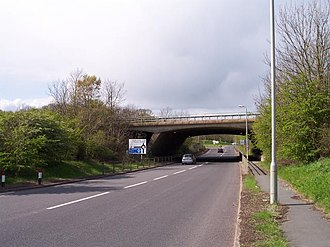 A38 road - Image: A38 passes under M50
